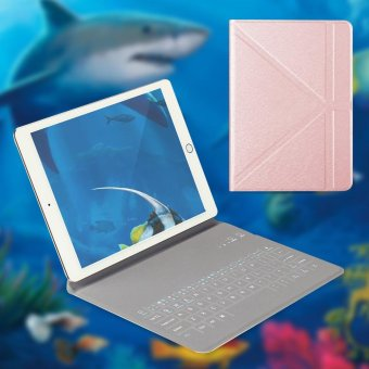 OATSBASF 4mm Ultrathin Bluetooth Keyboard Leather Stand Case for iPad mini 4 3 2 1 - Rose Gold - intl