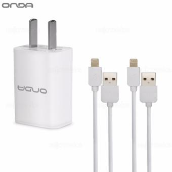 Onda 1A USB Slot Charger Adapter 1.0mAh Quick Speed Charging(White) w/ 2 Onda XC01 USB Cable For iPhone (White)