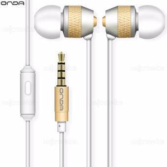 Onda AD30 Earphone Fidelity Comfortable with Earbuds Smooth Sound (White/Gold)