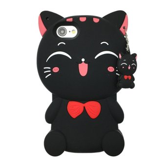OPPO A39 Case,Lucky Cat Fortune Cat Black & White Kitty WithBow Silicone Rubber Phone Case Cover For OPPO A39 Case - intl Price Philippines