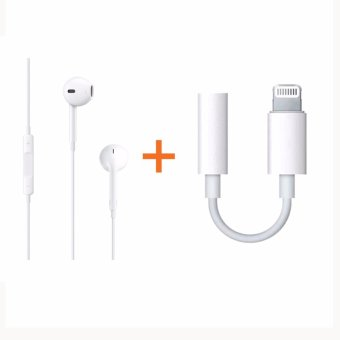 Original Apple EarPods with 3.5 mm Headphone Plug for Iphone (5/6)/Ipad / Ipod + Original Lightning to 3.5mm Headphone Jack for Iphone7/ 7plus - intl