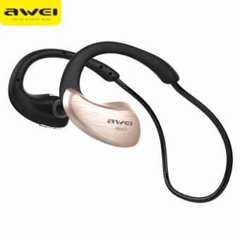Original AWEI A885BL Waterproof Sport Wireless Bluetooth Headphones Earphones (Gold)