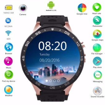Original KW88 3G WCDMA Smart Watch Phone Android 5.1 OS Quad Core CPU 2.0MP Camera Bluetooth SIM Card WiFi GPS Heart Rate Monitor - intl