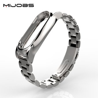 Original Mijobs Metal Strap For Xiaomi Mi Band 2 Straps ScrewlessStainless Steel Bracelet Replace Accessories For Mi Band 2 - intl