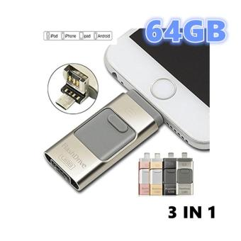 OTG Flash Drive USB 64GB 3 in 1 External Storage U Disk for iPhone 6s 6s plus 7 plus and USB Android Cellphone,Macbook Laptop PC(Silver)