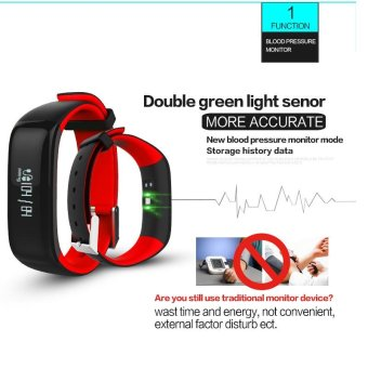 P1 Bluetooth 4.0 Waterproof IP67 Smart Wristband Smartband BloodPressure Monitor Heart Rate Monitor Smart Bracelet Fitness TrackerSmart Band for Android and IOS - Blue - intl - 4