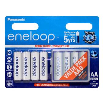 Panasonic Eneloop BK-3MCCE-8BCT AA Rechargeable Battery 2000 mAh Set of 8 with Battery Case (White)