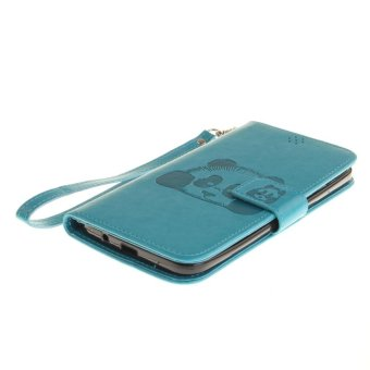 Panda Embossed Leather Magnetic Flip Cover For Asus ZenFone 2 LaserZE551KL 5.5 inch (Sky-blue) - intl - 5