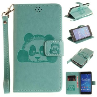 Panda Embossed Leather Magnetic Flip Cover For Sony Xperia Z2(Green) - intl