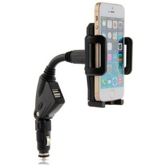 Pandaoo Dual USB Car Charger With Holder For Smartphone Tablet GPS