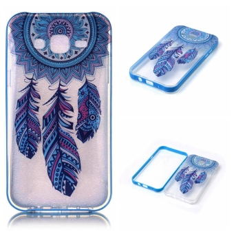 PC Bumper Frame Case Transparent TPU Back Cover For Samsung Galaxy J7 (2015) (Blue Dreamcatcher) - intl
