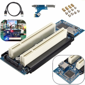 PCIe x1 x4 x8 x16 to Dual PCI slots adapter pci express to 2 pcicard With USB 3.0 Extender Cable for serial parallel sound card -intl