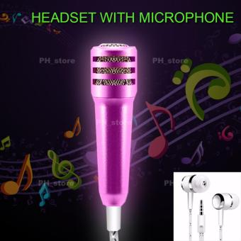 PH_store Mini Microphone Portable Stereo Headset With Mic (Pink)