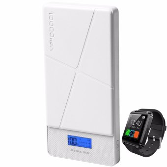 Pineng PN-983 10000mAh Power Bank (White) with Modoex M8 Bluetooth Smartwatch (Color May Vary)