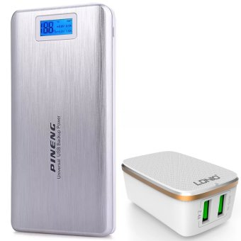 Pineng PN-999 20000mAh Power Bank (Silver) with LDNIO A2204 2 USB 5V / 2.4A Quick Charge Desktop USB Charger (White)