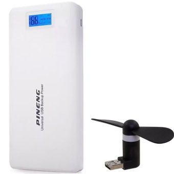 Pineng PN-999 20000mAh Power Bank (White) with 2-in-1 Portable USB Fan (Color May Vary)