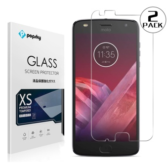 PopSky Clear Tempered Glass Premium 9H Film Screen Protector for Motorola MOTO Z2 Play(2 Pack) - intl