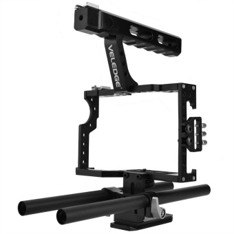 Portable Aluminum Camera Cage Rig Stabilizer Top Handle GripAccessory for DSLR Camera DV - intl