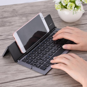 Portable Foldable Aluminum Alloy Wireless Bluetooth Keyboard For Windows Android iOS (Dark Grey) - intl