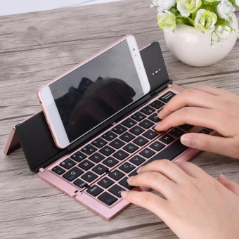 Portable Foldable Aluminum Alloy Wireless Bluetooth Keyboard ForWindows Android iOS (Rose Gold) - intl