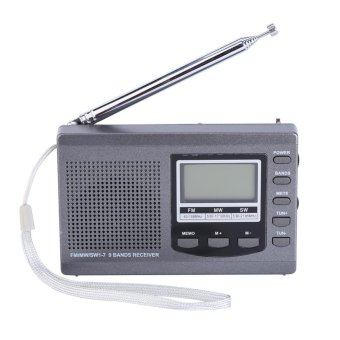Portable Mini FM Radios MW/SW Receiver with Digital Alarm Clock-Grey - intl