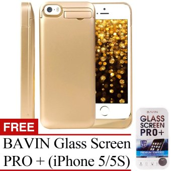 Power Case 2200mAh Universal Rechargeable Backup Portable Charger with Kickstand Holder for Apple iPhone SE 5/5C/5S (Olympic Gold) with Free BAVIN Glass Screen Pro+