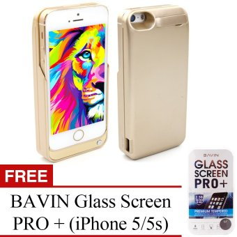 Power Case 4200mAh Portable USB External Backup Battery Charger Case with Viewing Stand For Apple iPhone 5/5S (Vegas Gold) with Free BAVIN Glass Screen Pro+