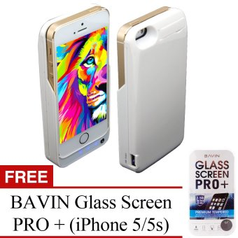 Power Case 4200mAh Portable USB External Backup Battery ChargerCase with Viewing Stand for Apple iPhone 5/5C/5S (Polar White) withFree BAVIN Glass Screen Pro+ Price Philippines