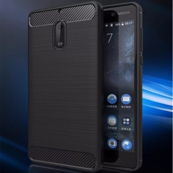 Power up Carbon Rugged Armor Cover Case for Nokia 6 - (black)