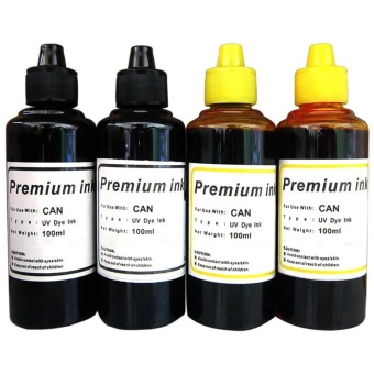 Premium Dye Ink for Canon Set of 4 (Black/Yellow)