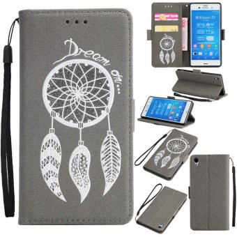 Premium Embossed Wind Chimes PU Leather Wallet Folio Flip Cases with Detachable Wrist Strap Card Slots Kickstand Function Cover Case for Sony Xperia Z3 - intl Price Philippines