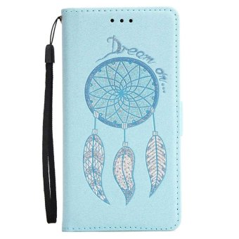 Premium Embossed Wind Chimes PU Leather Wallet Folio Flip Caseswith Detachable Wrist Strap Card Slots Kickstand Function CoverCase for Huawei Mate 9 Pro - intl - 4