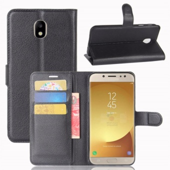 Premium Leather Flip Cover Wallet Phone Case for Samsung Galaxy J7 J730 2017 / Galaxy J7 Pro - intl