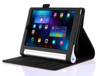 Premium PU Leather Case Stand Cover for Lenovo Yoga Tab 3 8.0 850 and Yoga Tablet 2 8.0 830 with Velcro Hand Strap and Card Slots (Black) - intl - 3