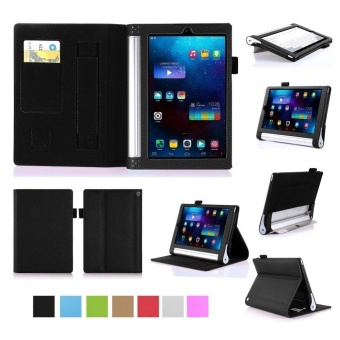 Premium PU Leather Case Stand Cover for Lenovo Yoga Tab 3 8.0 850 and Yoga Tablet 2 8.0 830 with Velcro Hand Strap and Card Slots (Black) - intl