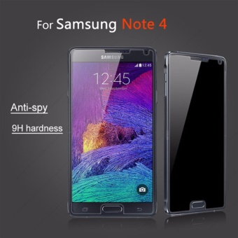 Privacy Anti-Spy Ultra-Thin 9H Tempered Glass Screen Protector forSamsung Galaxy Note4(Black) - intl
