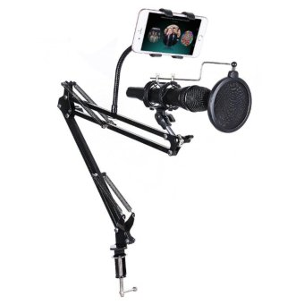 Professional Adjustable Recording Microphone Suspension BoomScissor Arm Stand+Phone Holder