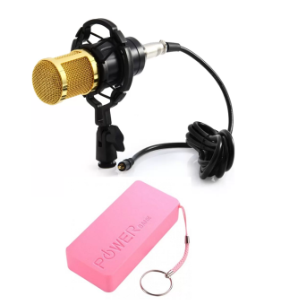 Professional BM-800 Condenser Microphone Studio Sound SpeechRecording With Shock Mount for Radio Braodcasting (Black) WithKeychain 5600 mAh Power Bank