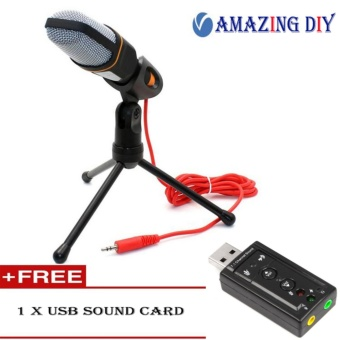 Professional Condenser Podcast Studio Sound Recording MicrophoneFor PC Laptop + Free USB sound card - intl