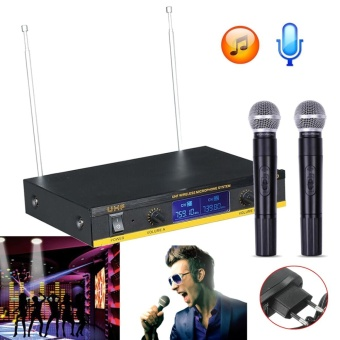 Professional LCD Dual Channel UHF Wireless Dual HandHeld Microphone Mic System EU Plug - intl