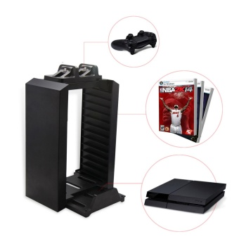 PS4 Charger Storage Tower with 12 Game Blue-ray disc storage and Dual Charger for PlayStation 4 Console - intl