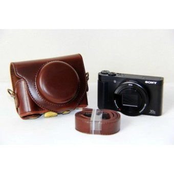 PU Leather Camera Bag Case Cover Pouch For SONY DSC-HX90V HX90WX500 with Shoulder strap - intl - 3