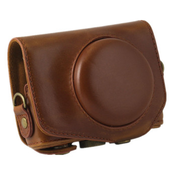 PU Leather Camera Case Bag Cover for Canon G7X 1 Digital with Strap (Brown) - 2