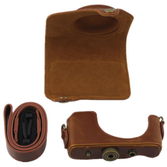 PU Leather Camera Case Bag Cover for Canon G7X 1 Digital with Strap (Brown) - 3