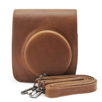 PU Leather Camera Case Bag Holder For Fuji FUJIFILM Instax Mini90 Brown