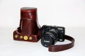 PU Leather Camera Case Bag with Neck Strap For Canon EOS M3 (coffee) - intl