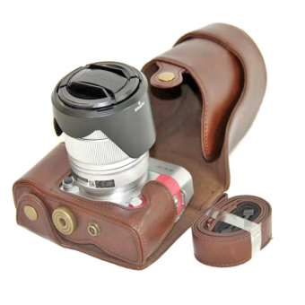 PU Leather Camera Case for Fujifilm X-A3 XA3 16-50/18-55mm Lens(Coffee)