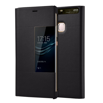 PU Leather Case Window View Flip Smart Cover for Huawei P9 (Black)