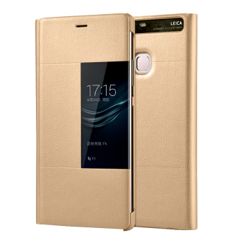 PU Leather Case Window View Flip Smart Cover for Huawei P9 (Gold)