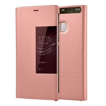 PU Leather Case Window View Flip Smart Cover for Huawei P9 Plus(Rose Gold) - intl